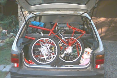 Click to view Triple bike in Subaru Justy picture 1